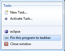 Pin Eclipse to Windows taskbar