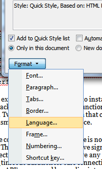MS Word Format Language
